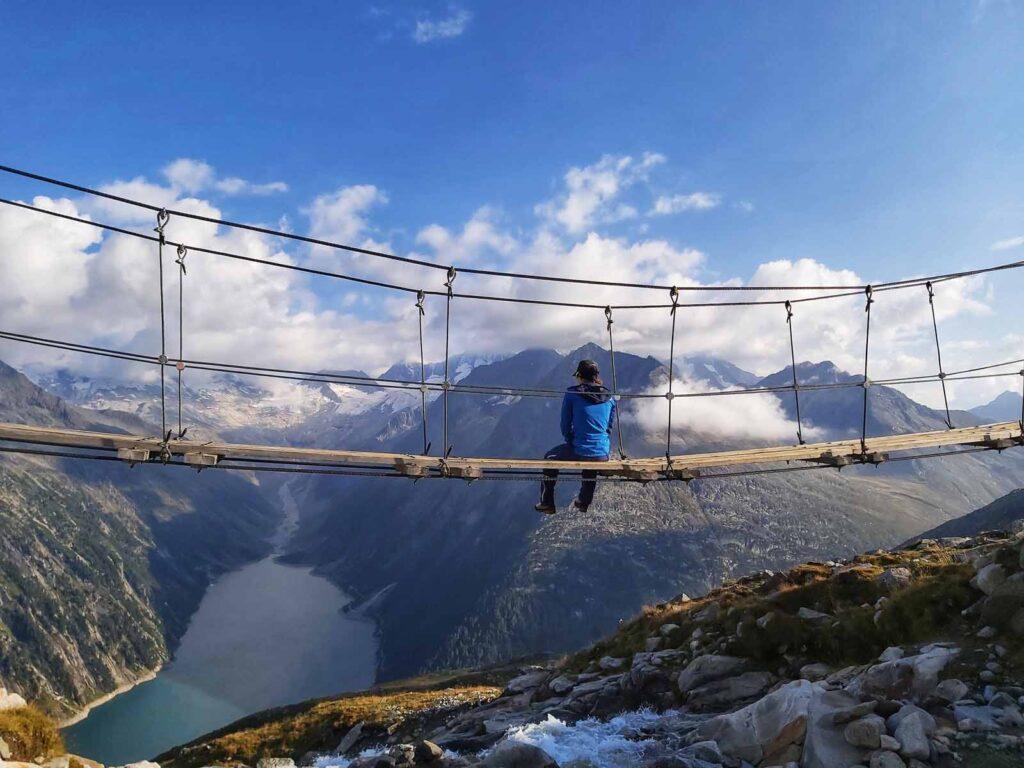 Die berühmte Hängebrücke unweit der Olpererhütte