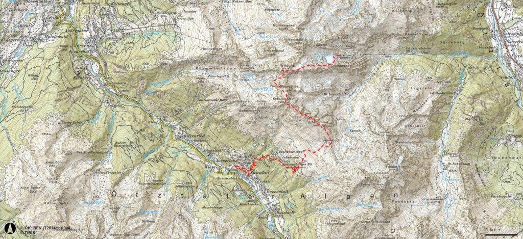 Karte Erlanger Hütte - Ludwigsburger Grat